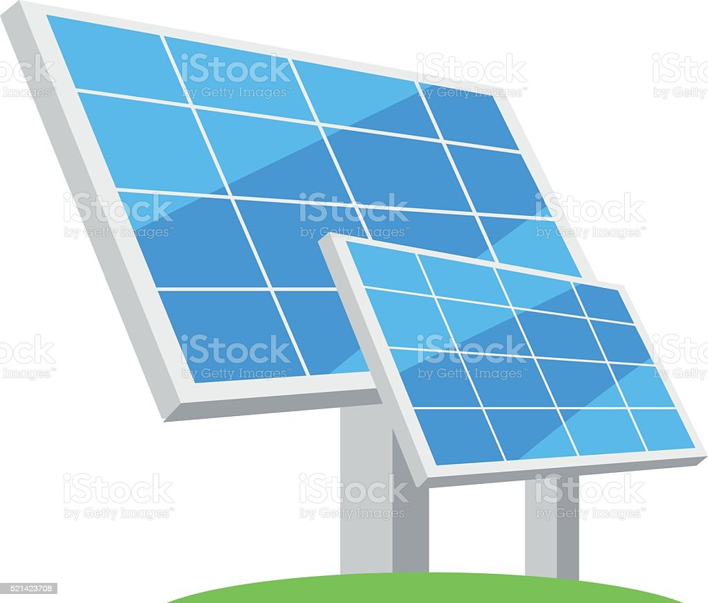 Solar panels. Types of alternative energy. Eco-friendly energy. vector art illustration