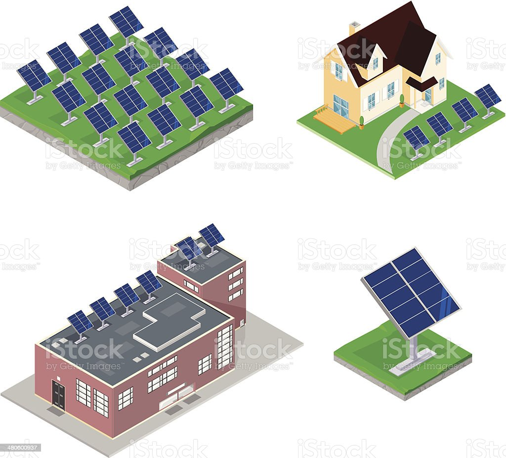 Solar Power Renewable Energy vector art illustration