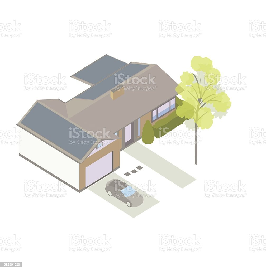 Solar powered home isometric illustration vector art illustration
