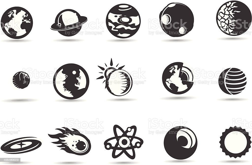 Solar System Icons vector art illustration