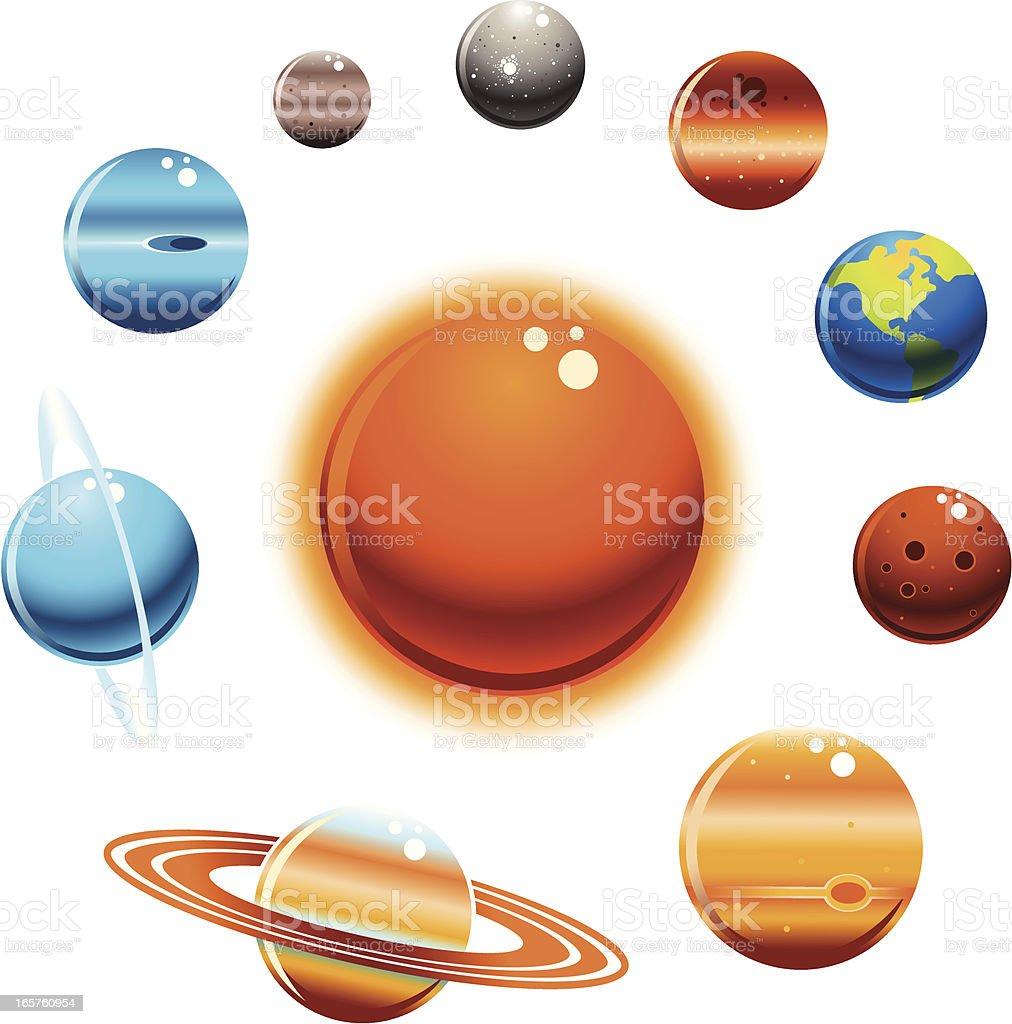 Solar System Set vector art illustration