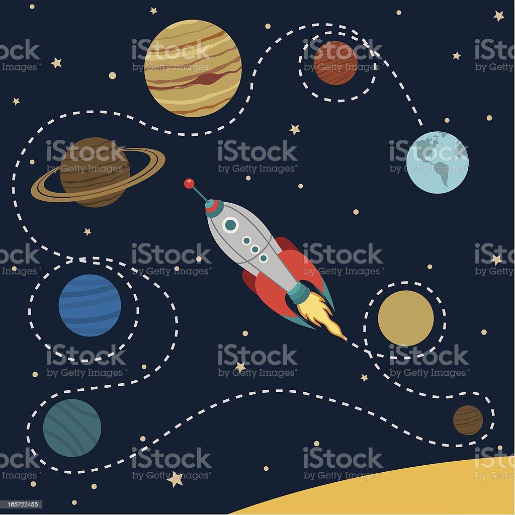 Solar System Travel vector art illustration