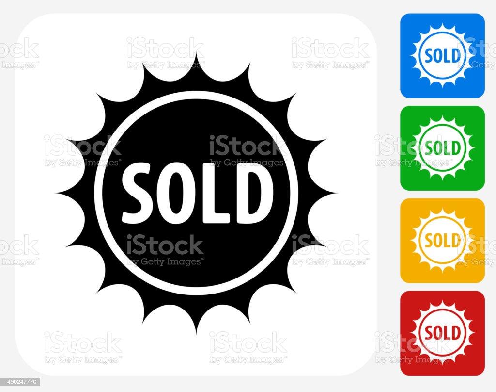 Sold Emblem Icon Flat Graphic Design vector art illustration