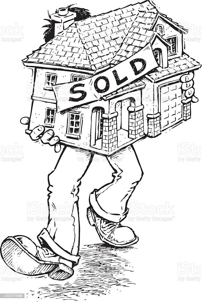 Sold Home vector art illustration