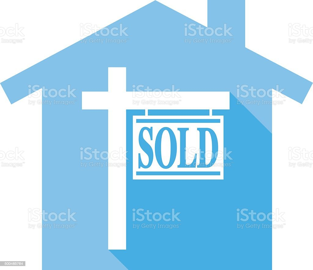 Sold House icon vector art illustration