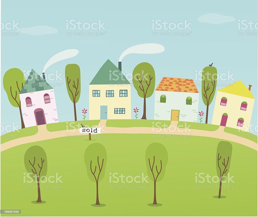 Sold House vector art illustration