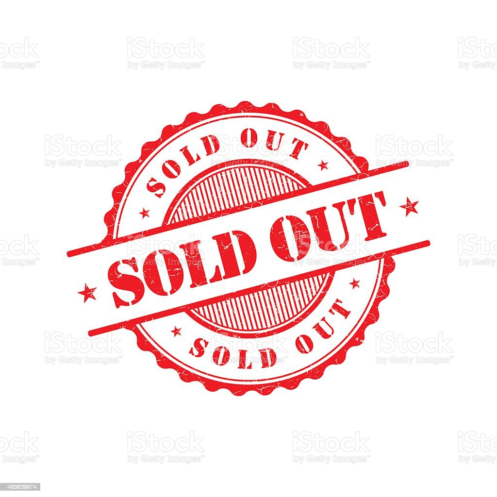 Sold out grunge retro red isolated stamp vector art illustration