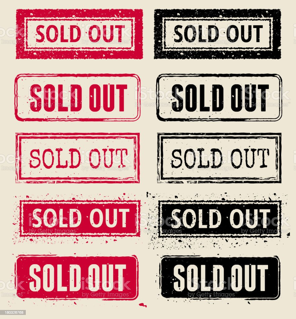 Sold Out Vector Rubber Stamp Collection vector art illustration