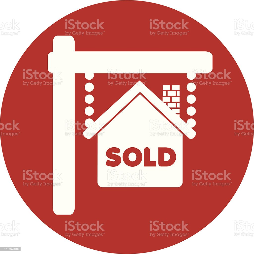 sold sign on red circle vector art illustration