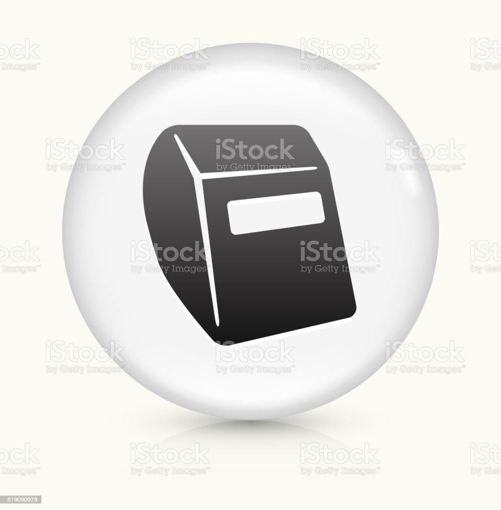 Soldering Helmet icon on white round vector button vector art illustration