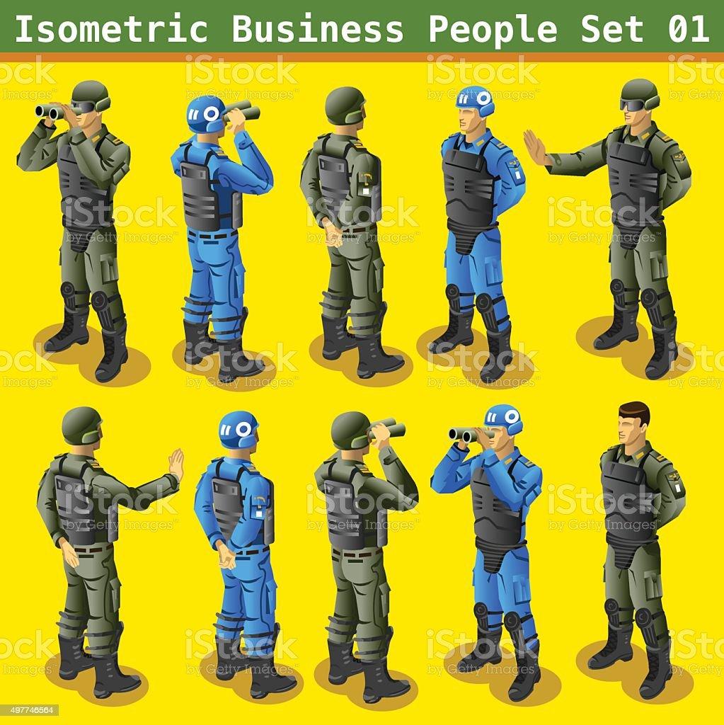 Soldier 01 People Isometric vector art illustration