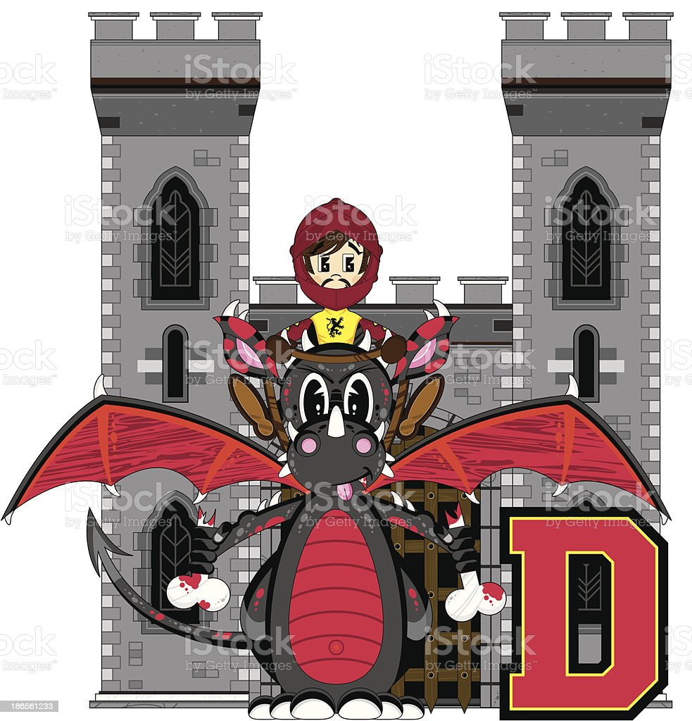 Soldier and Dragon Learning Letter D royalty-free stock vector art