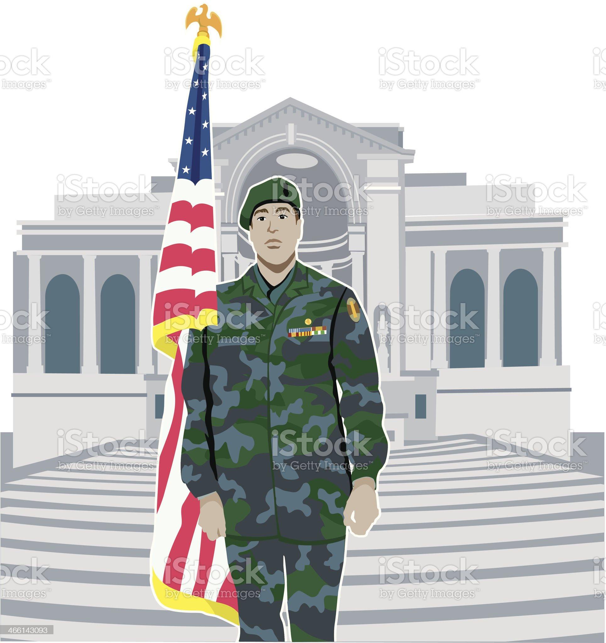 Soldier Arlington C royalty-free stock vector art