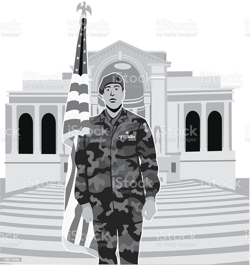 Soldier Arlington royalty-free stock vector art