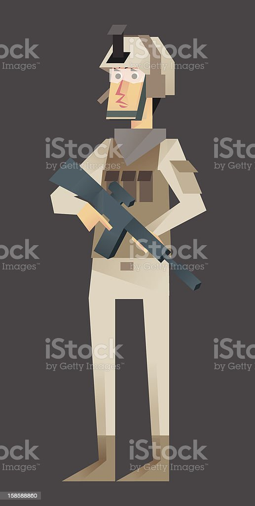Soldier Assault Class 3/5 vector art illustration