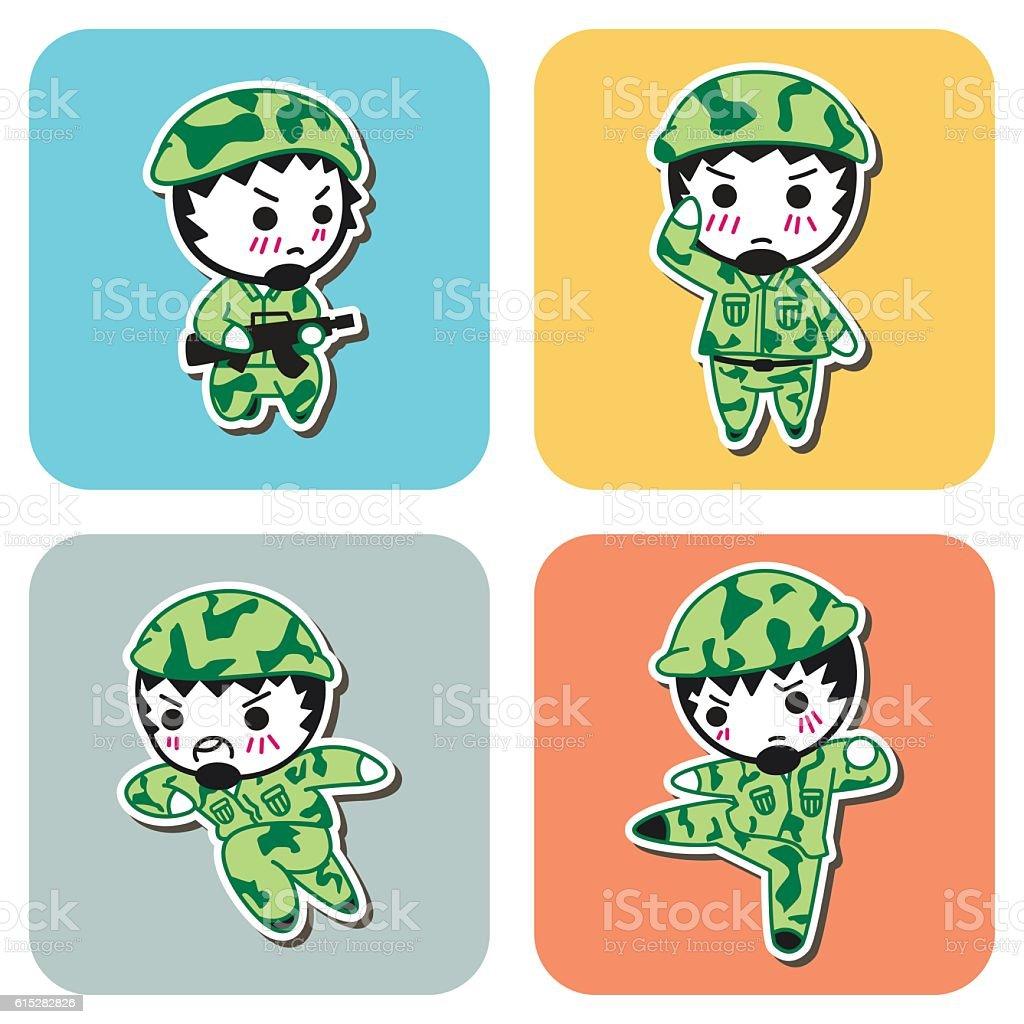 Soldier cartoon vector art illustration