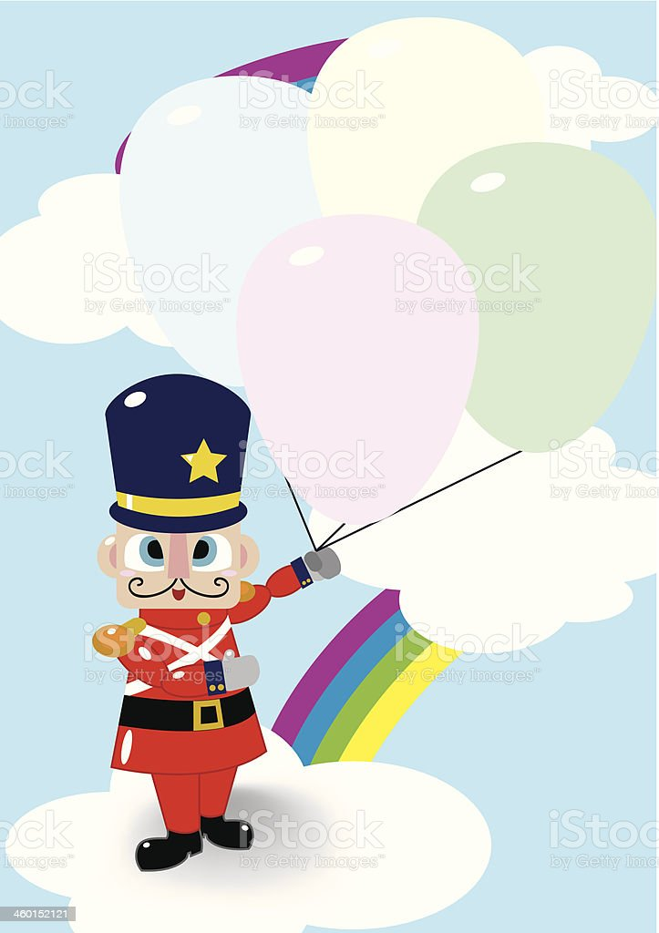 Soldier Doll And Balloon royalty-free stock vector art