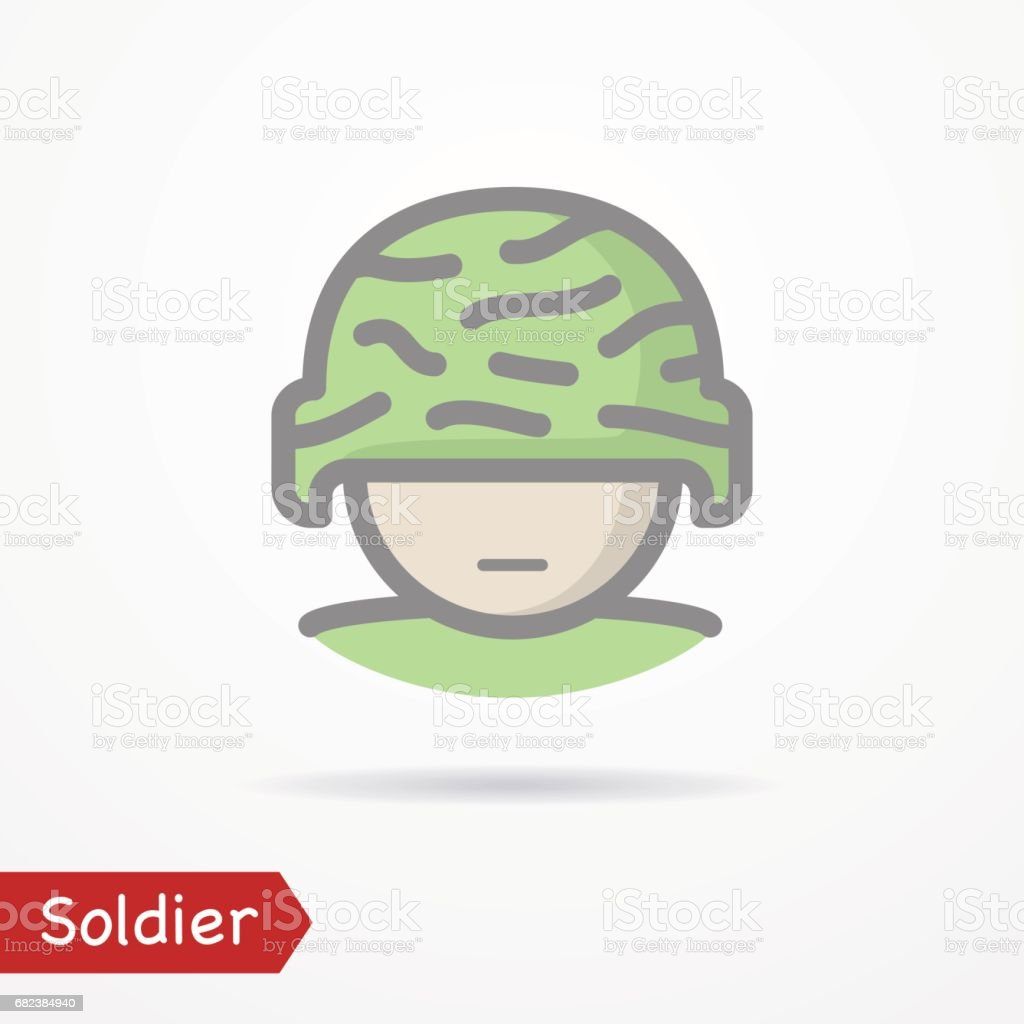 Soldier face vector icon vector art illustration