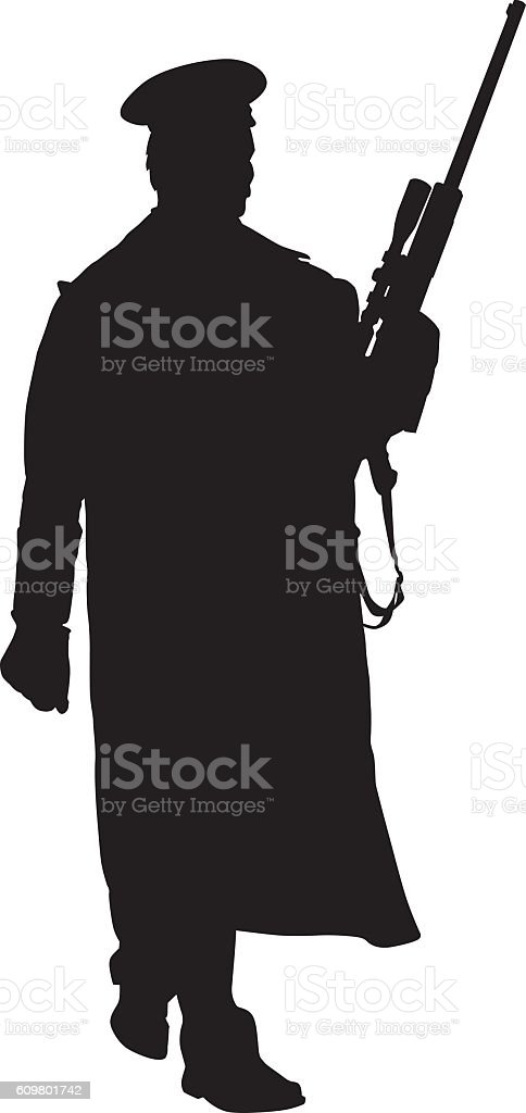 Soldier In Long Coat With Rifle vector art illustration