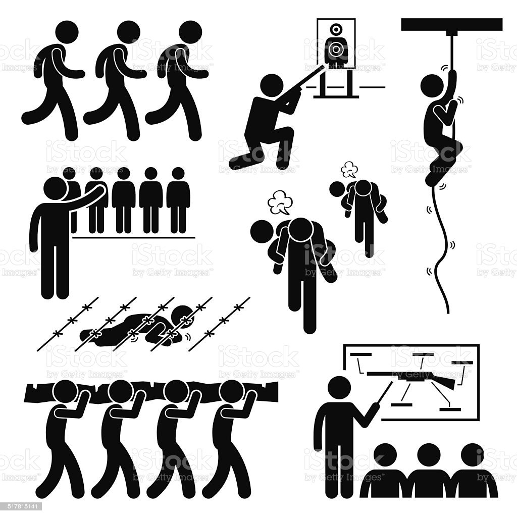 Soldier Military Training Workout Stick Figure Pictogram Icons vector art illustration