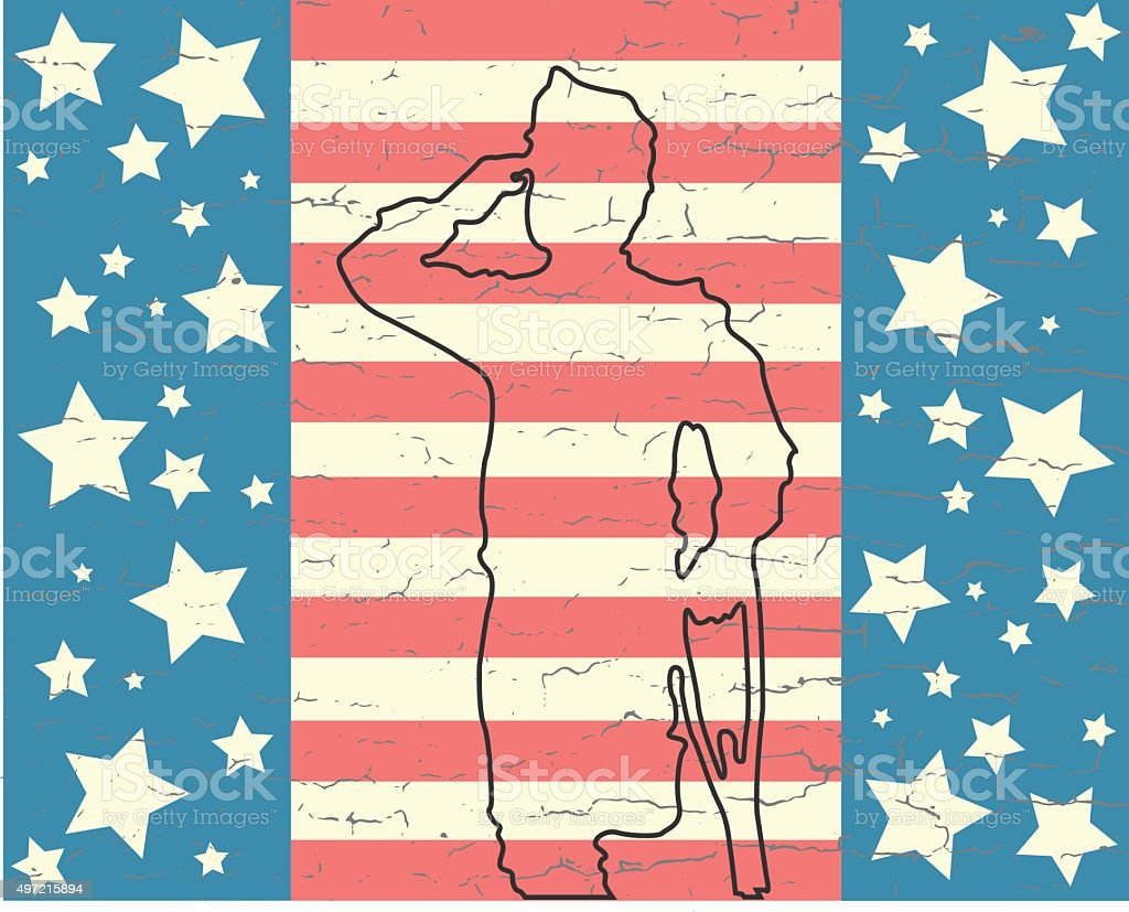 Soldier on veterans day royalty-free stock vector art