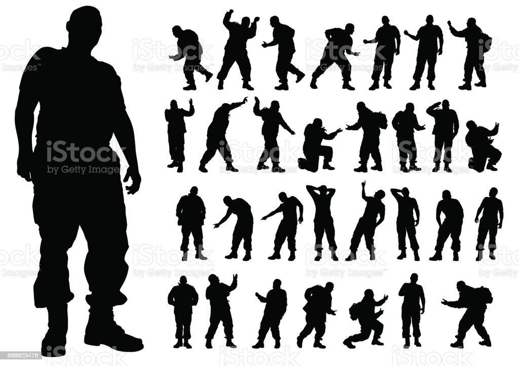 Soldier on white vector art illustration