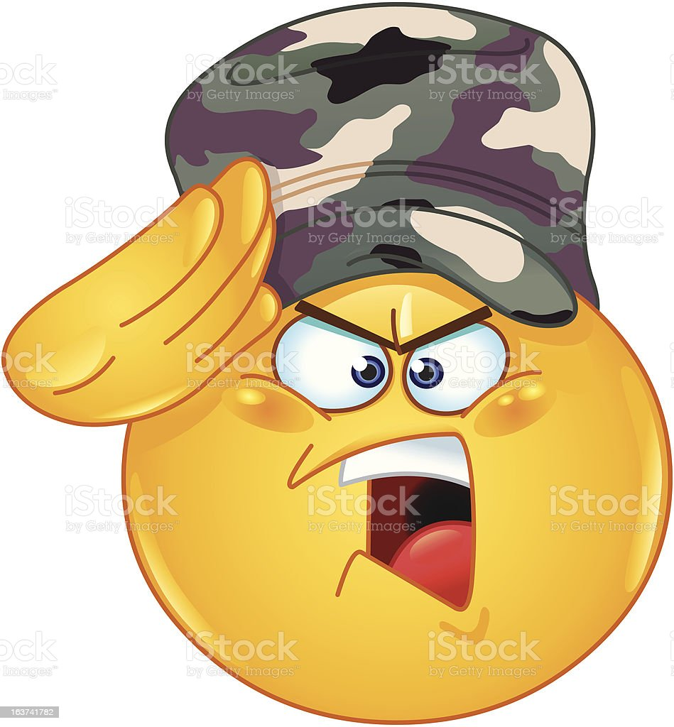 Soldier saluting emoticon royalty-free stock vector art