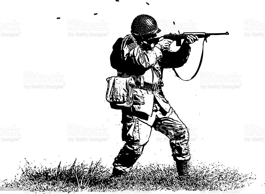 Soldier Shooting Rifle vector art illustration