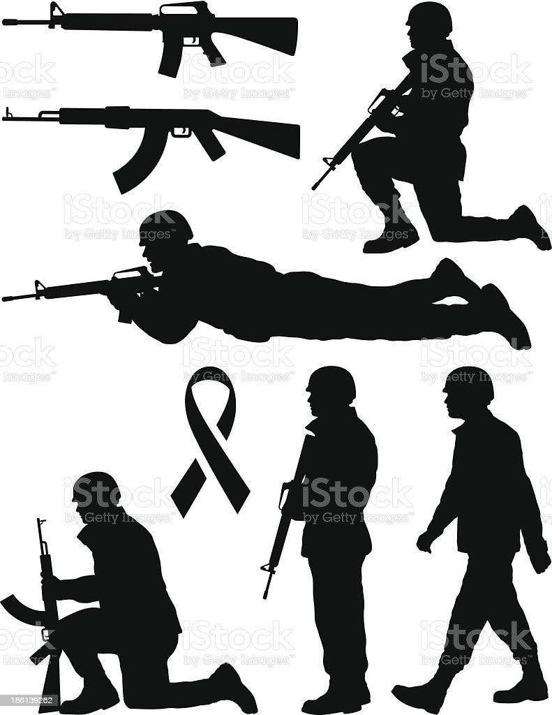 Soldier Silhouettes vector art illustration