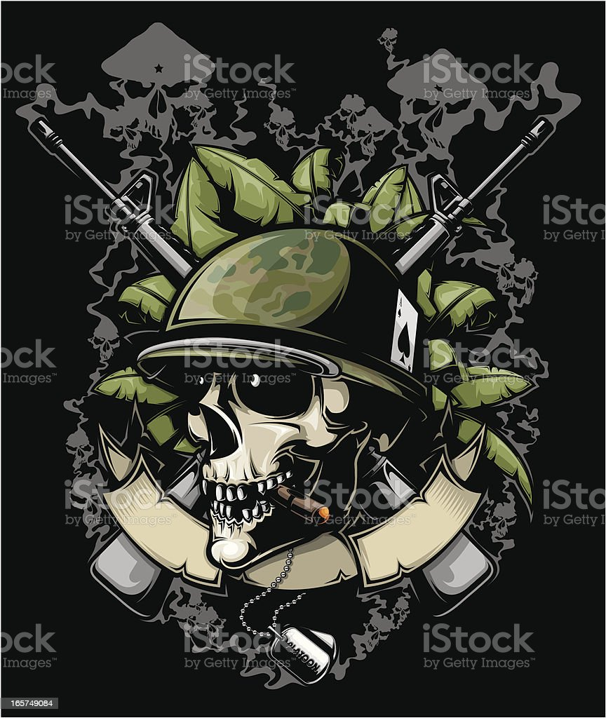 soldier skull vector art illustration