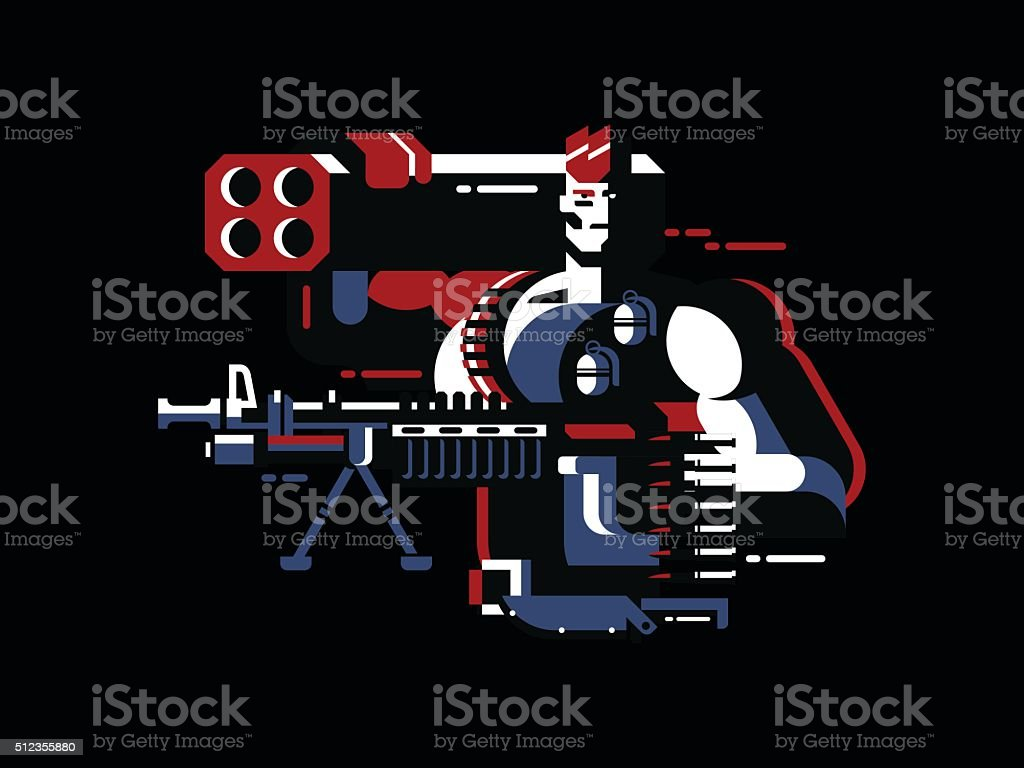Soldier with gun vector art illustration