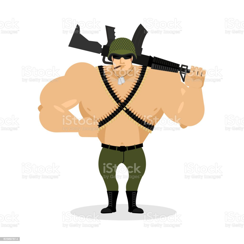 Soldier with rifle. special forces with gun. Warrior and machine vector art illustration
