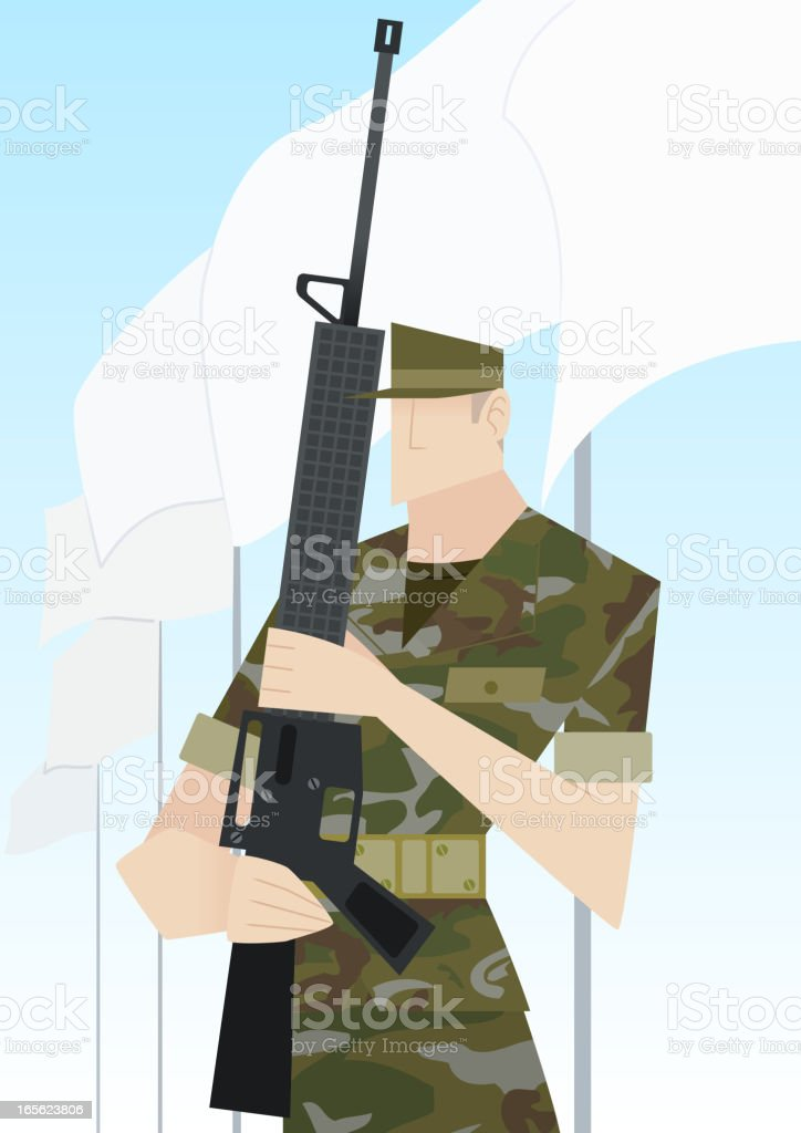 Soldier with rifle vector art illustration