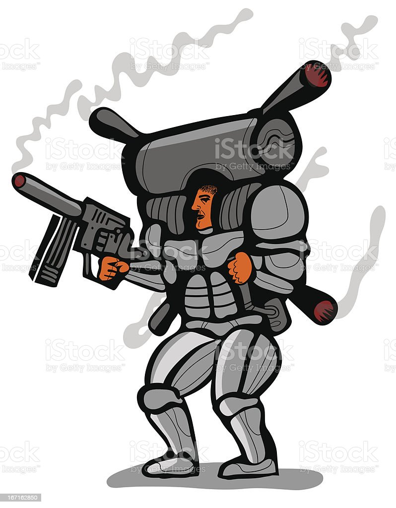 soldier with smoking jet pack royalty-free stock vector art