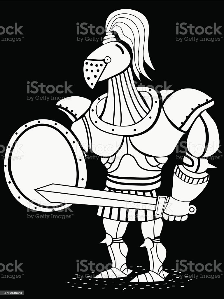 soldier with sword and shield royalty-free stock vector art