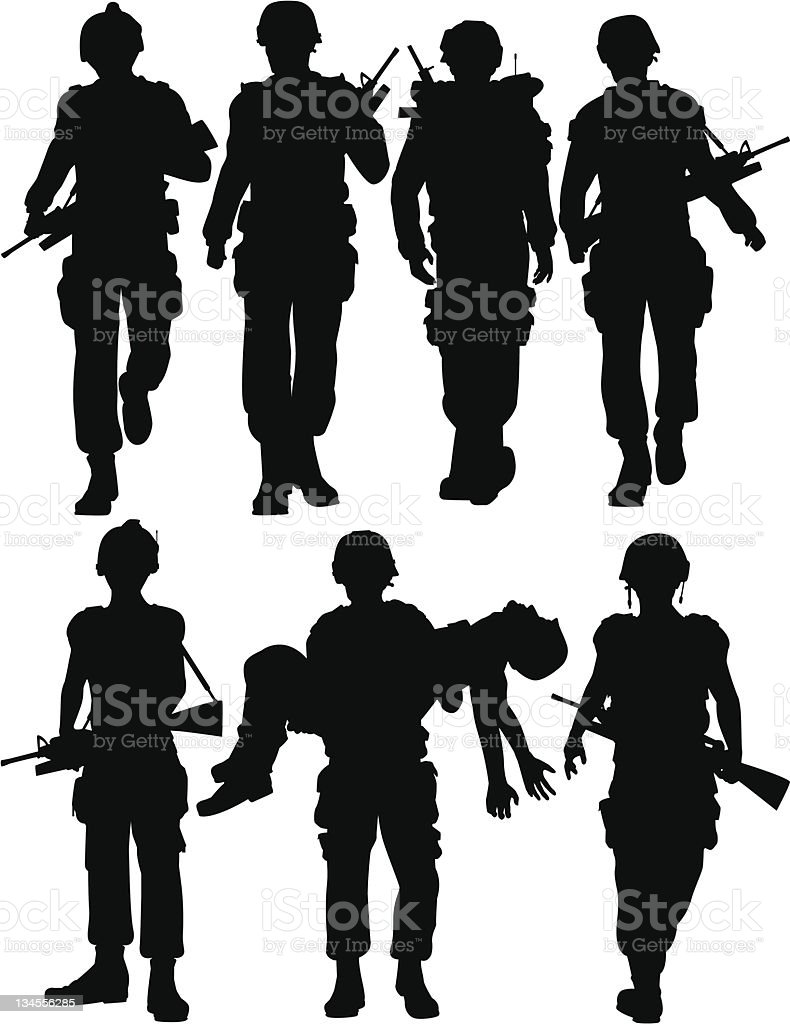 Soldiers vector art illustration