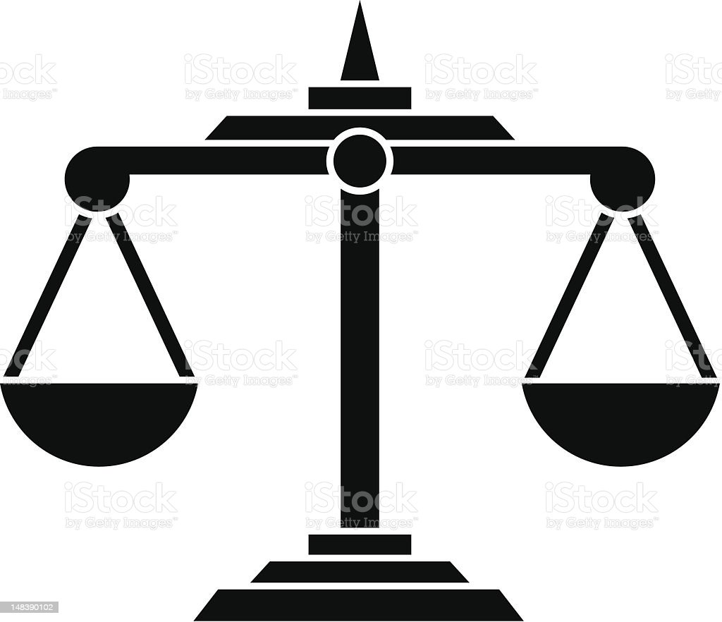 Solid black on white background image of scales of justice vector art illustration