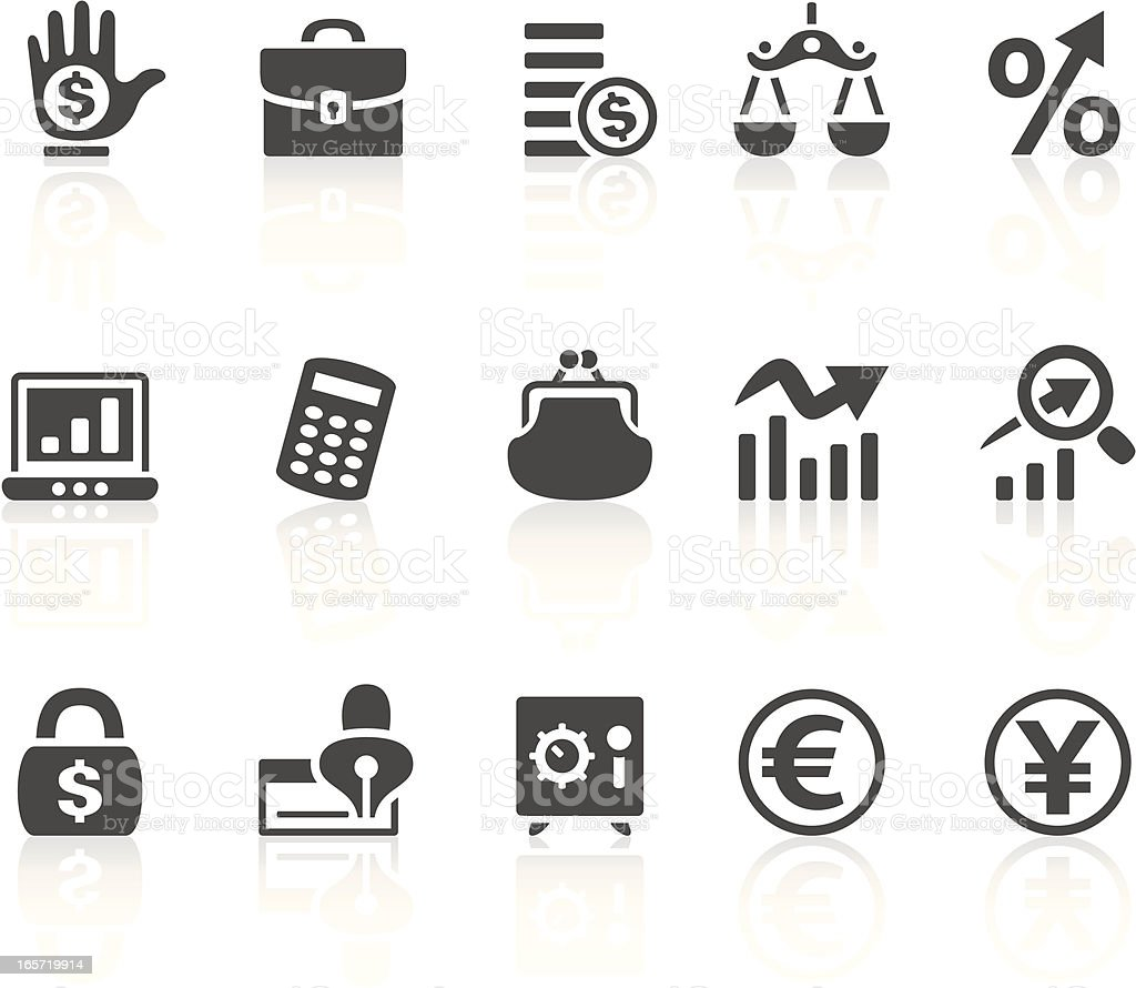 Solid bold Finance icons set on white vector art illustration