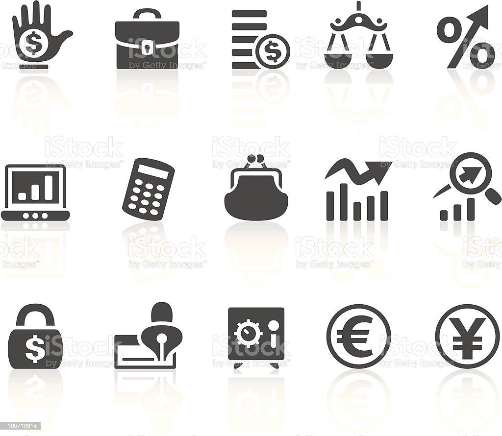 Solid bold Finance icons set on white vector art illustration