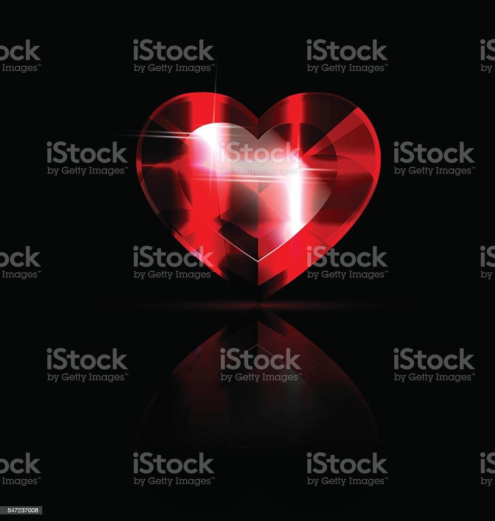 solid red heart-crystal vector art illustration