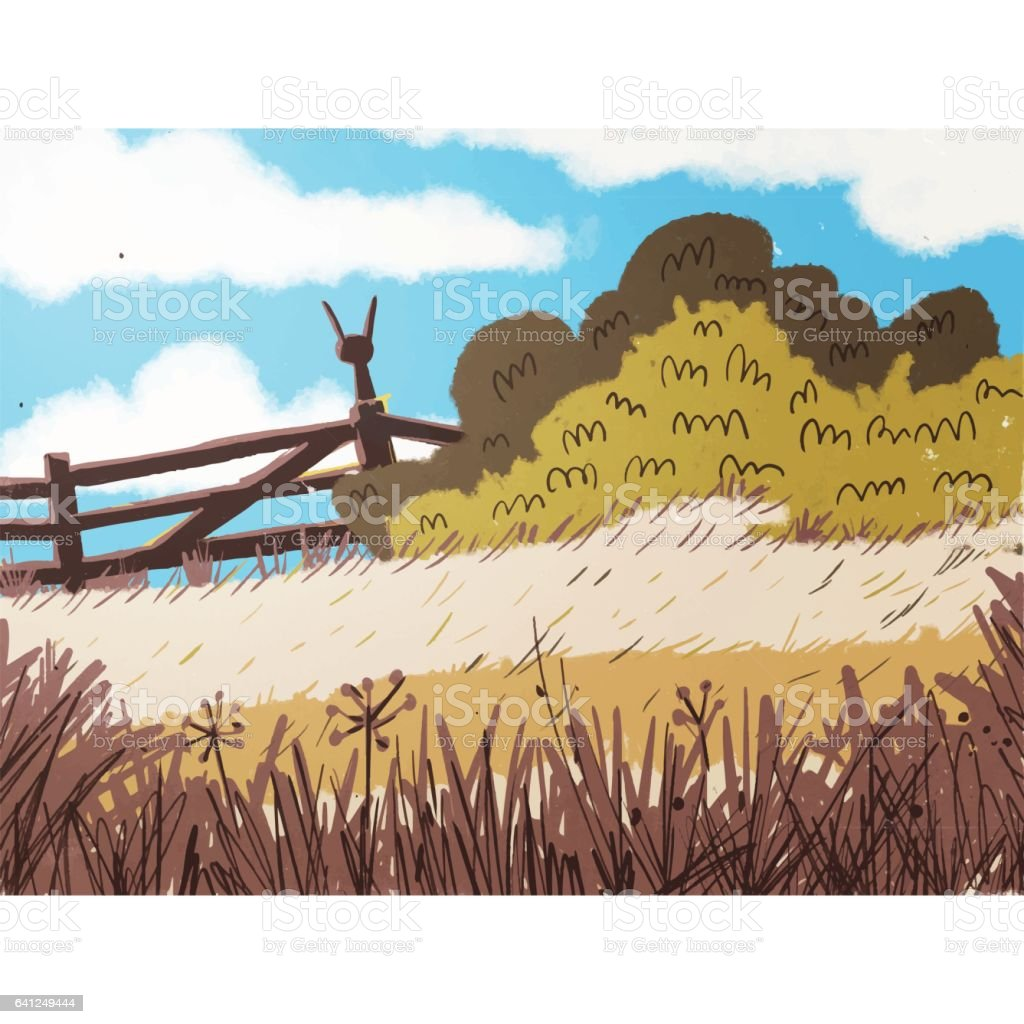 Solitaire rabbit sitting on a fence on a hill vector art illustration