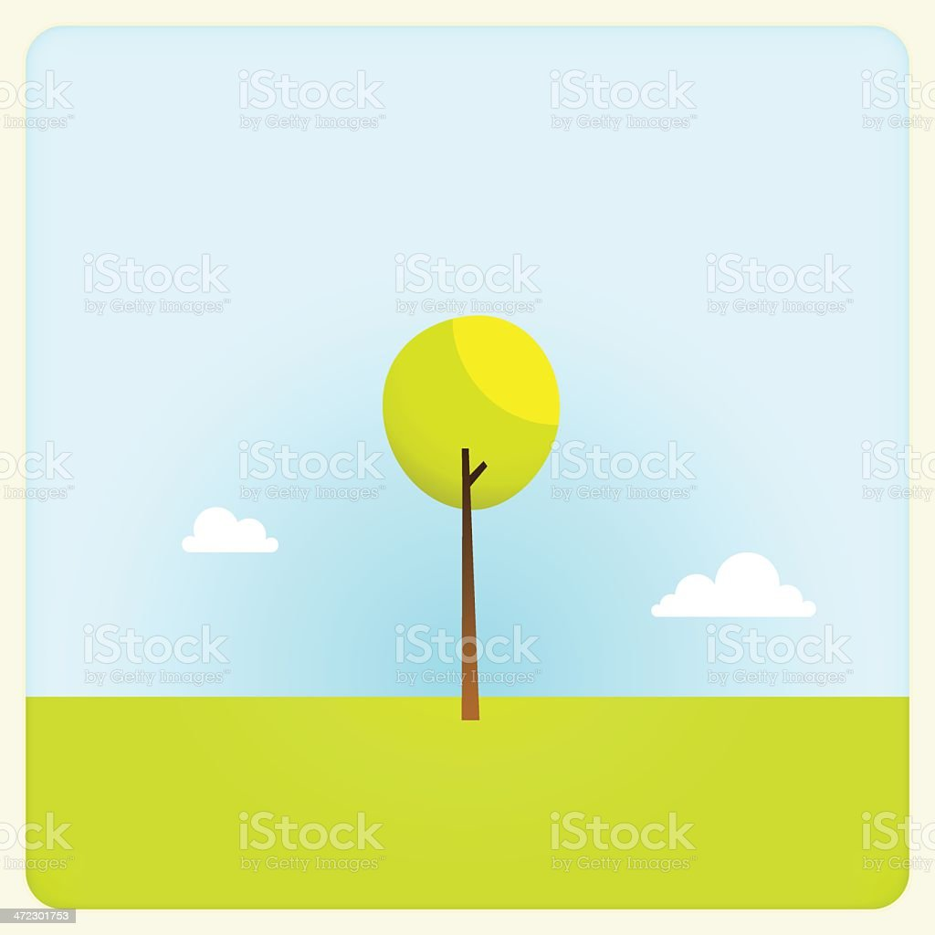 Solitary Tree Spring Time Mobile Camera Photo Frame royalty-free stock vector art