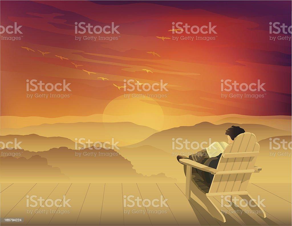 Solitude at Sunset vector art illustration