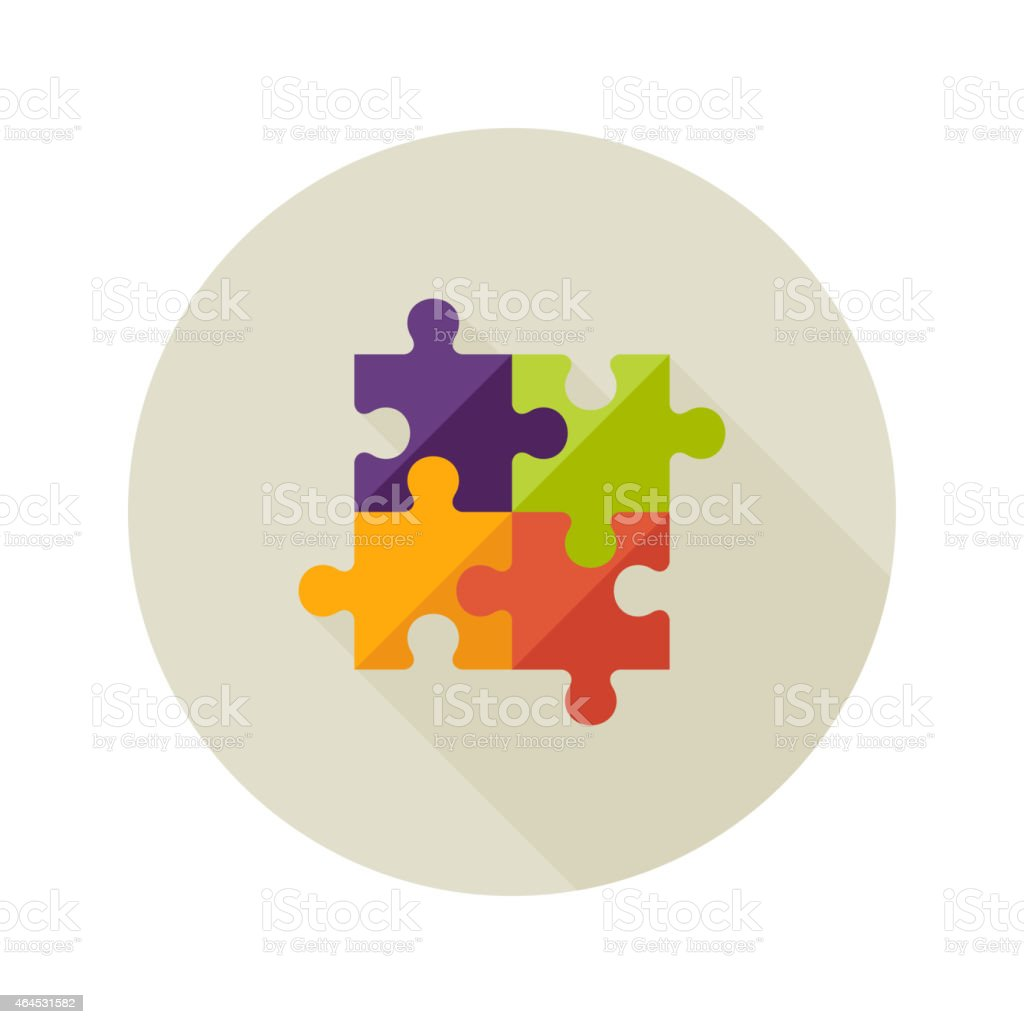 Solution Creativity Puzzle Flat Icon vector art illustration