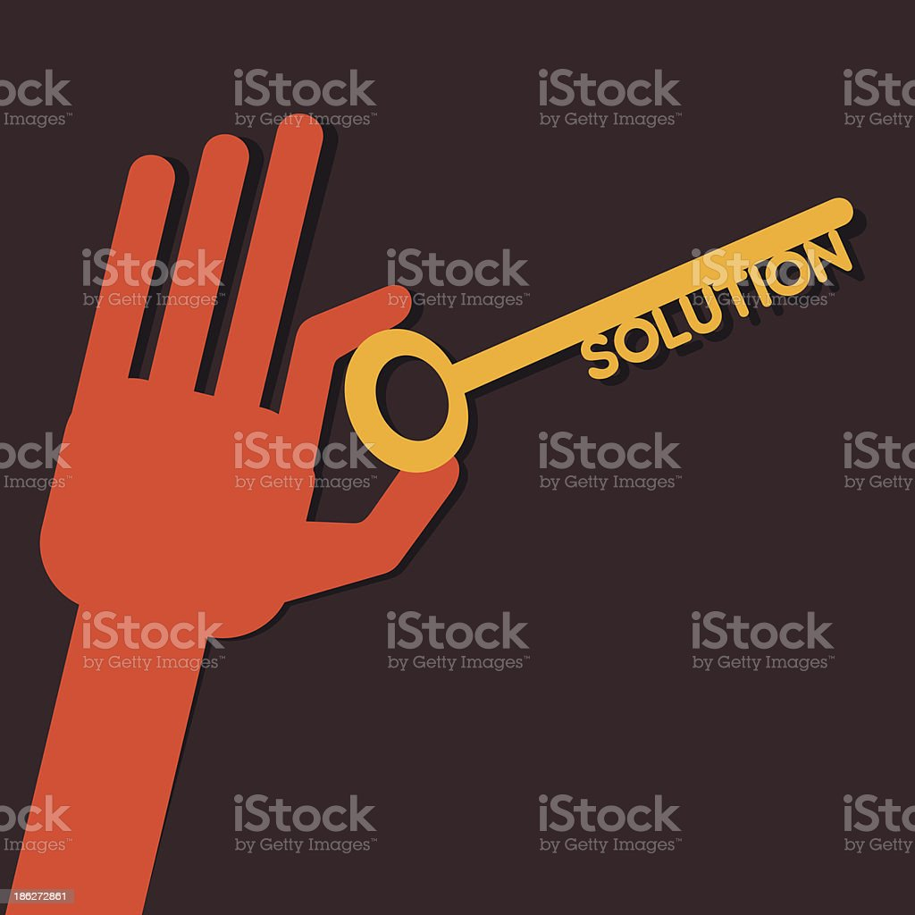 solution key in hand royalty-free stock vector art
