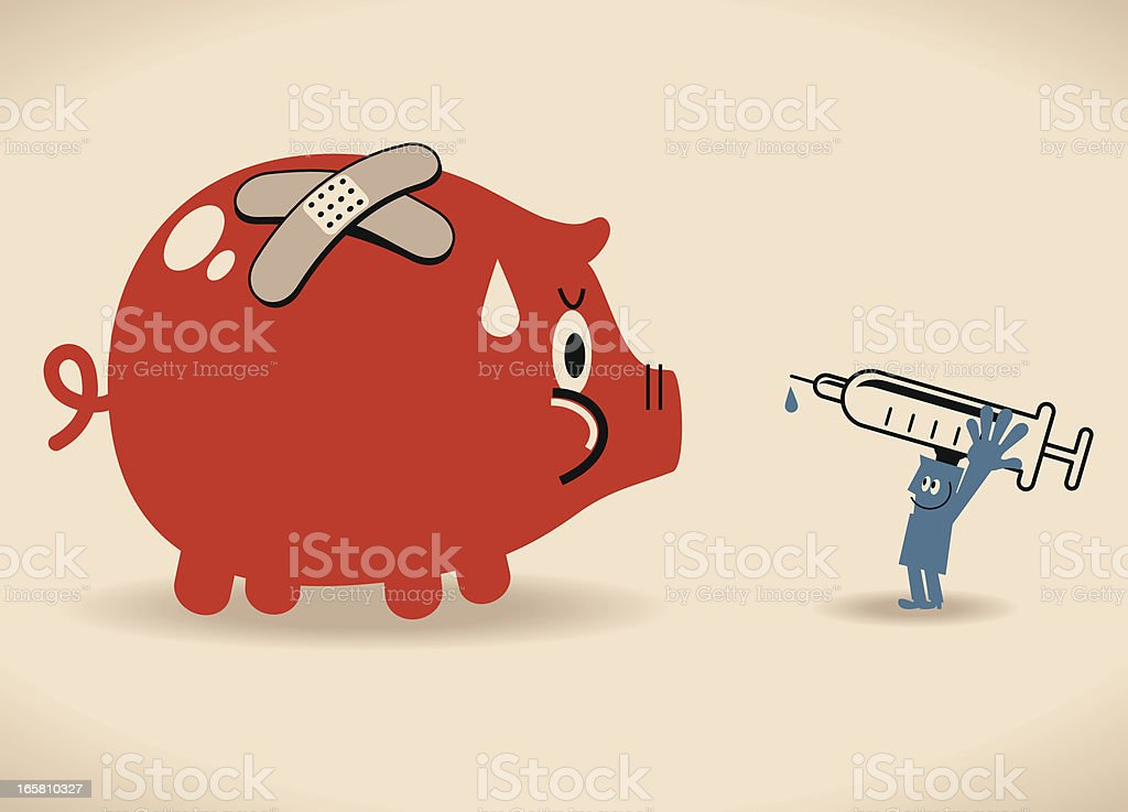 Solution Of Troubled Finances vector art illustration