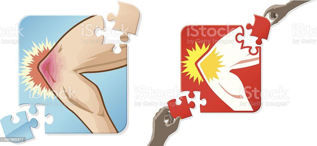 Solution to knee pain vector art illustration