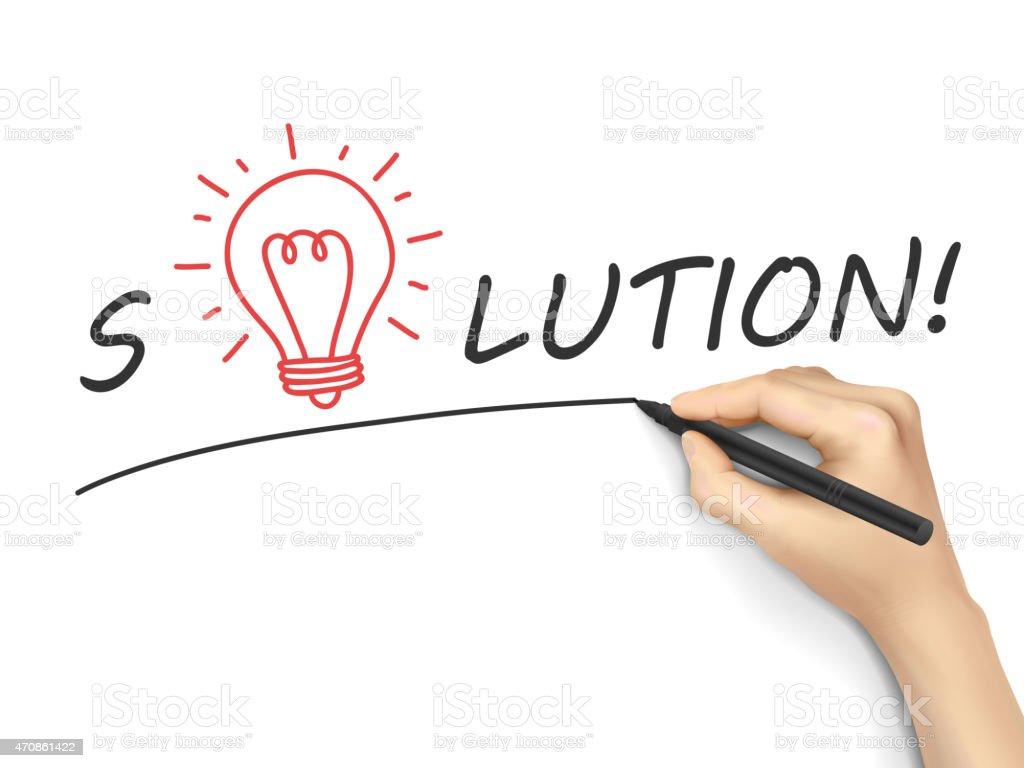 solution word written by hand vector art illustration