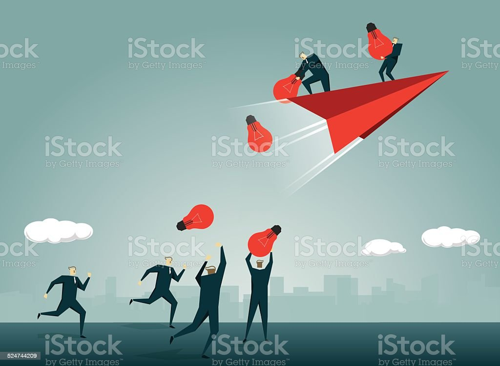 Solution,Abstract,Paper Airplane, Symbolize, Light Bulb,Inspiration,Throwing, Airplane vector art illustration