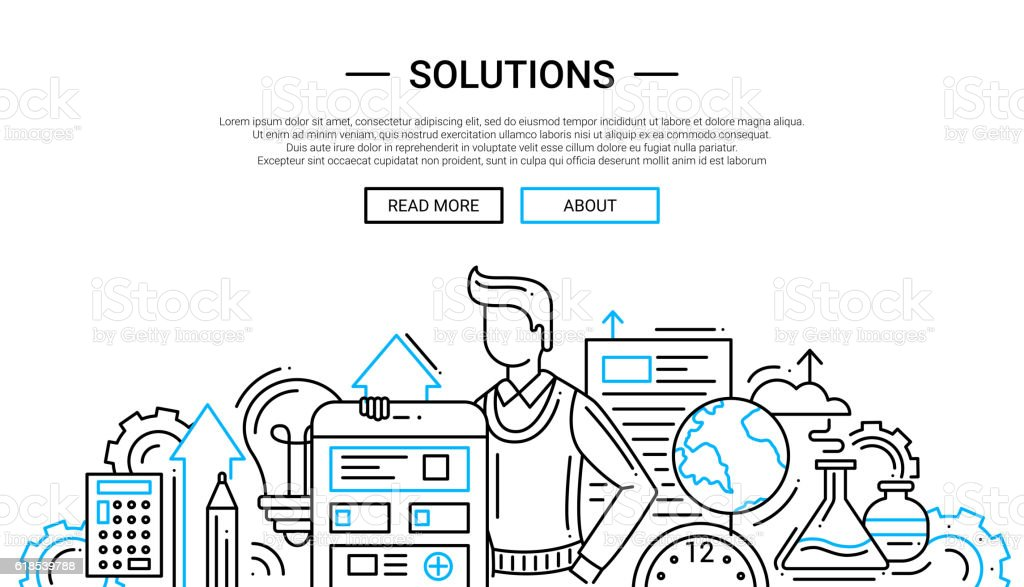 Solutions - line design website banner temlate vector art illustration